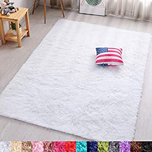 PAGISOFE Soft Comfy White Area Rugs for Bedroom Living Room Fluffy Shag Fur Carpet for Kids Nursery Plush Shaggy Rug Fuzzy Decorative Floor Rugs Contemporary Luxury Large Accent Rug 4′ x 5.3′,(White)
