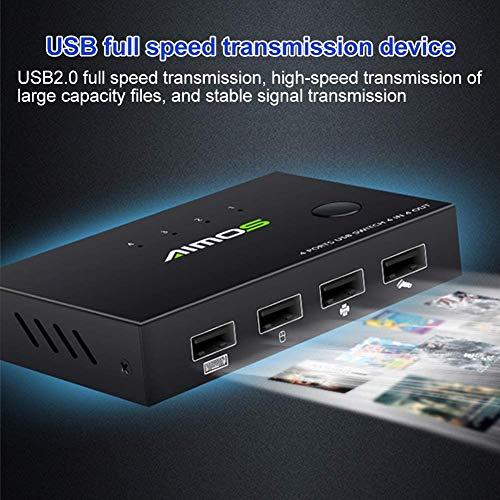 KVM Switch Box Keyboard Mouse Professional Universal 4 in 4 delen en play voor printer keuzeschakelaar thuis kantoor T Speed B Interface Hub Adapter metaal