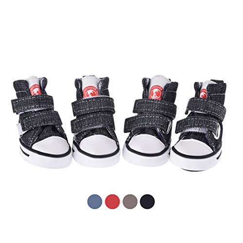 GabeFish Dog Shoes Sneaker Pet Canvas Shoes Chihuahua Puppy Nonslip Boots Sport Anti-Slip Paw Protector Black Large