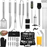 grilljoy 30PCS BBQ Grill Tools Set with Thermometer and Meat Injector. Extra Thick Stainless Steel Fork, Spatula& Tongs - Complete Grilling Accessories in Portable Bag - Perfect Grill Set Gift.