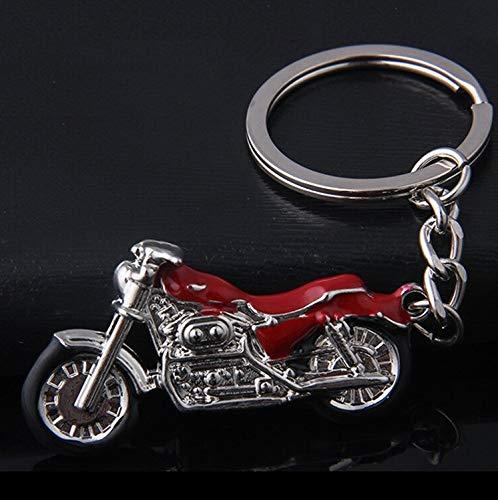 Motorrad Chopper Schlüsselanhänger silberfarben/schwarz Metall Moped   Chopper   Geschenk   Harley   rot