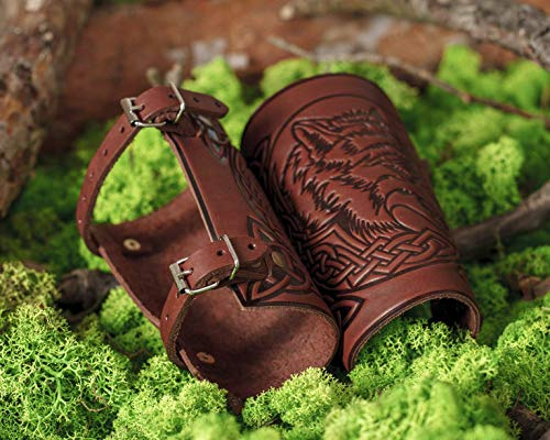 """Hand Made Full Grain Leather Cuffs -Bracers - Larp Gauntlet - Leather Wristbands - LARP Accessories - Viking Bracers - Wolf Design - Archery Armguard - Halloween Costume - Length 6"""""""