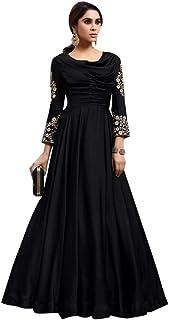 Black Designer Ladies Night Cocktail dress Fobi Silk Gown Indian Women Party wear 8066