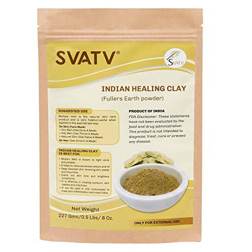 SVATV - Indian Healing Clay :: Multani Mitti - 0.5 lb. :: 227 g | Mascarilla facial y corporal de limpieza profunda de poros | La arcilla de bentonita de calcio 100% natural original
