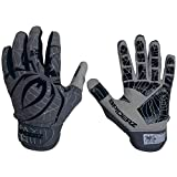 Spiderz LITE Adult Baseball/Softball Batting Gloves (Graphite/Black, Large)