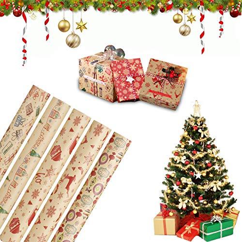 5 fogli di carta da regalo natalizia, carta da regalo per Natale, carta da regalo riciclata e dal design unico, carta da imballaggio riciclabile, carta da regalo per Natale (10)