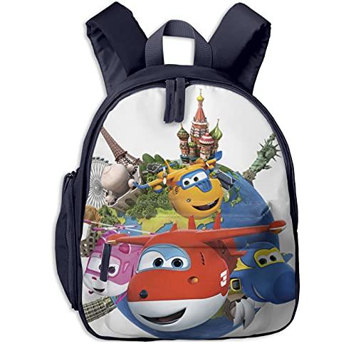 Mochila infantil para niños, mochila escolar Super Wings Earth Students Bookbag para niños y niñas