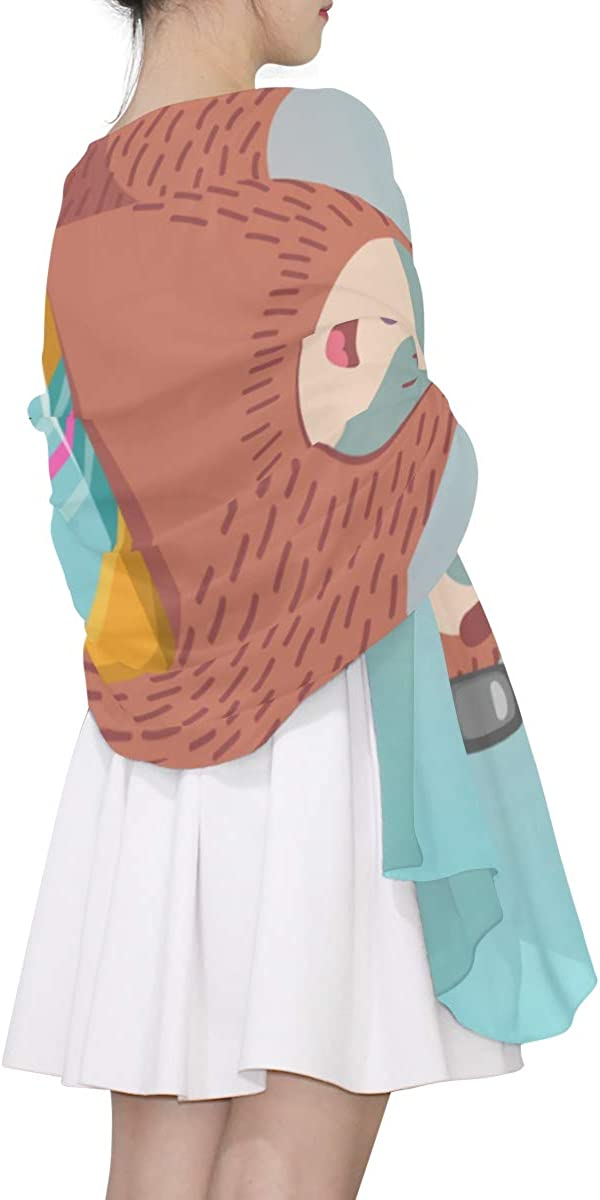 Cute Cartoon Sloth In Yoga Pose Unique Fashion Scarf For Women Lightweight Fashion Fall Winter Print Scarves Shawl Wraps Gifts For Early Spring
