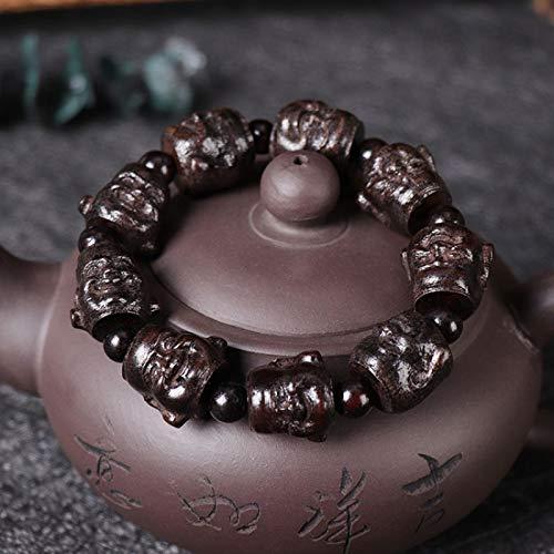 Gu-Jin Gang-in-Hand Guanyin Bodhi Boeddha als een perzik Cannie kralen armband Rohan mannen String Boeddha kraal Guangong Black wood - one-sided Buddha