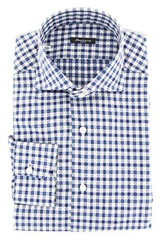 Sartorio Napoli Blue Checkered Button Down Spread...