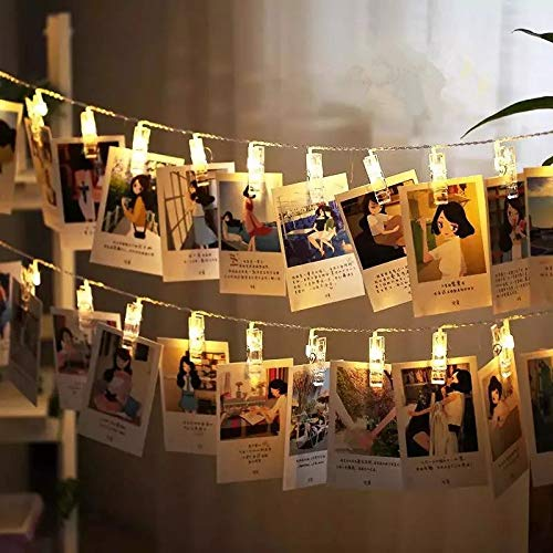 Magnoloran LED Photo String Lights 20 Photo Clips Fairy Twinkle Lights, Wedding Party Christmas Home Decor Lights for Hanging Photos, Cards and Artwork, Warm White