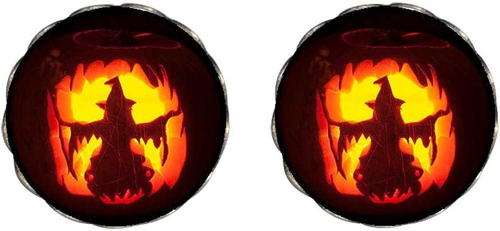 GiftJewelryShop Bronze Retro Style Halloween witch lantern pumpkin Clip On Earrings Flower Earrings #12