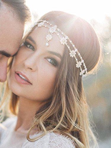 FXmimior Schmuck-Stirnband für Hochzeiten, Brautschmuck, Boho-Stirnband, Griechische Kette mit Blumenmotiv, Haarschmuck, Bollywoodschmuck, (silber)