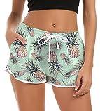Mujeres Damas Junior Girls Shorts de Playa Lindos Troncos de baño Impresión de piña Trajes de baño Pantalones Cortos de Verano Loungewear de Secado rápido Shorts Deportivos para Correr Yoga
