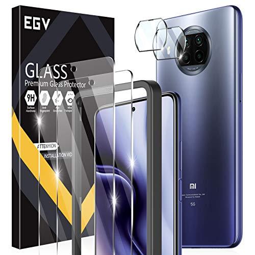 EGV 4 Pack Compatibile con Xiaomi Mi 10T Lite 5G/Xiaomi 10i 5G/Redmi Note 9 Pro 5G Protector de Pantalla,2 Pack Cristal Templado e 2 Pack Protector de Lente de Cámara