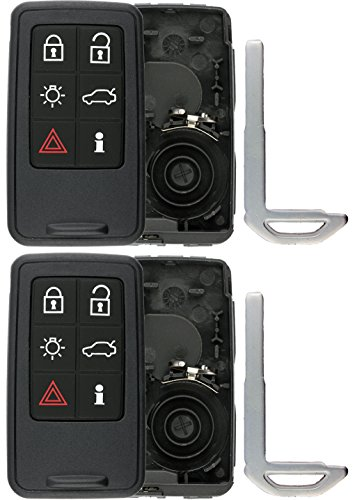 KeylessOption Keyless Entry Remote Smart Key Fob Case Shell Button Pad Outer Cover For Volvo KR55WK49264 (Pack of 2)