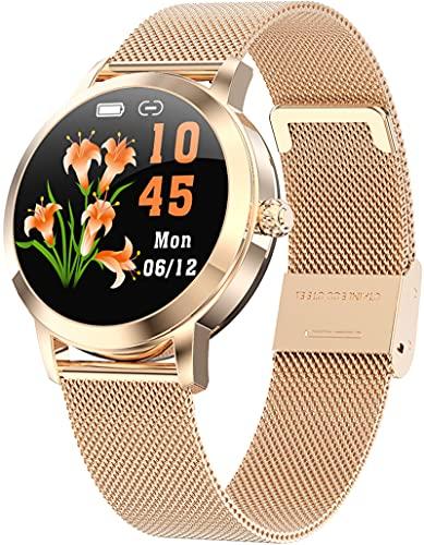 Rosegold Damen Smartwatch Elegant Design Fitness Armband Blutdruck Herzfrequenz Schlafüberwachung Schrittzähler Sportuhr für Android iOS