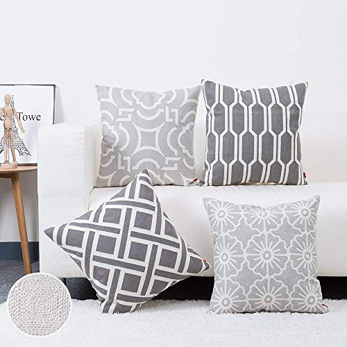 baibu Pack of 4 Grey Embroidered Throw Pillow Cover, 100% Cotton Decor Sofa Throw Pillow Case Square Cushion Cover for Couch Sofa 18x18 inch/4PCS