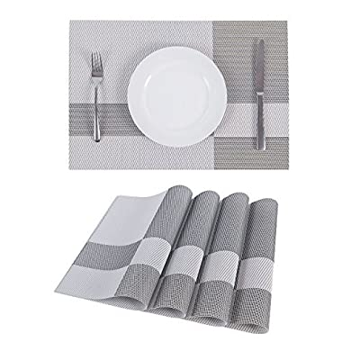 Set of 4 Placemats,Placemats for Dining Table,Heat-resistant Placemats, Stain Resistant Washable PVC Table Mats,Kitchen Table mats.(4, Plaid-White)