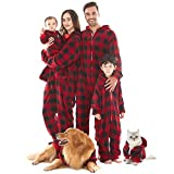 Pijama Hombre Mujer, Pijama en Tejido Franela Polar Suave y cómodo para Toda la Familia, excelente para Invierno, Rojo Cuadros - Mujer, L (165-170cm)