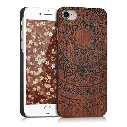 kwmobile Schutzhülle kompatibel mit Apple iPhone 7/8 / SE (2020) - Hülle Handy aus Holz - Cover Hülle Handyhülle Indische Sonne Dunkelbraun