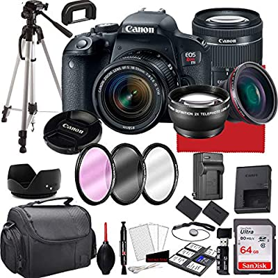 Canon EOS Rebel T7i DSLR Camera with 18-55mm f/4-5.6 is STM Zoom Lens, 64GB Memory,Case, Tripod and More (28pc Bundle) by Paging Zone- Canon Intl