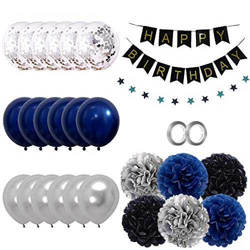 Juego de decoración de cumpleaños para niña, color azul oscuro y plateado, guirnalda con pompones de papel y confeti para fiestas de cumpleaños