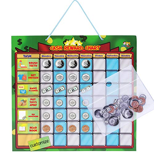 Cadily Cash Reward Chart. Magnetic Chore Chart for Kids. It's A Chore Chart Kids Love to Use for Money Games. Rewards Good Behavior & Responsibility (String Hanging)
