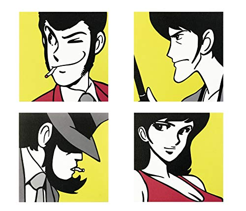 Set di 4 Quadri Moderni con i Personaggi di Lupin III Sfondo Giallo, Stampa su Tela Canvas, Quadro 20x20 cm, Ideale per Arredo Casa, Camera da Letto, Soggiorno, Ufficio, Cartoni Animati, Made in Italy