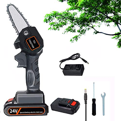 TZUTOGETHER Mini Chainsaw , 24V Rechargeable Lithium Battery Electric Chainsaw Cordless Pruning Shears Chainsaw with Brushless Motor for Wood Cutting Fruit Tree Pruning and Logging- Lightweight