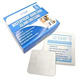 JJ CARE Waterproof Adhesive Island Dressing (4x4 inches) Sterile Wound Dressing (Pack of 25) Adhesive Bandages, Breathable Bordered Gauze Pads, Latex Free, Individually Wrapped, Composite Dressing