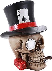 Pacific Trading Poker Skull Ace Spades Top Hat Casino Dice Poker Game Skull Gambler Figurine Gift
