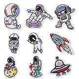 9 piezas, Parche termoadhesivo,pegatinas de tela bordadas,ropa de bricolaje,adecuada para abrigos,camisetas,jeans, cohete astronauta