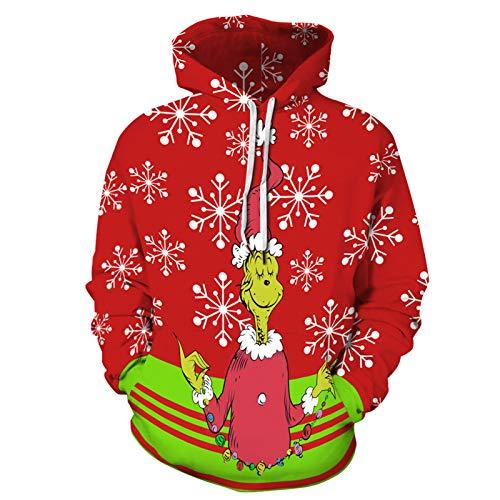 XDJSD Sudadera Hombre Suéter De Navidad Impreso Pareja Moda Casual con Capucha Suéter De Manga Larga Estilo De La Calle Casual Top Suéter De Gran Tamaño