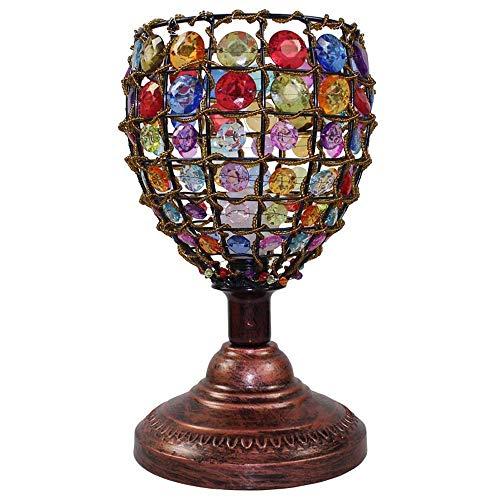 Lámpara Escritorio Iluminación creativa moderna para la sala de bodas Iluminación hecha a mano de estilo europeo Estilo pastoral Pantalla con cuentas Lámpara de mesa Lámpara de mesita de noche para do