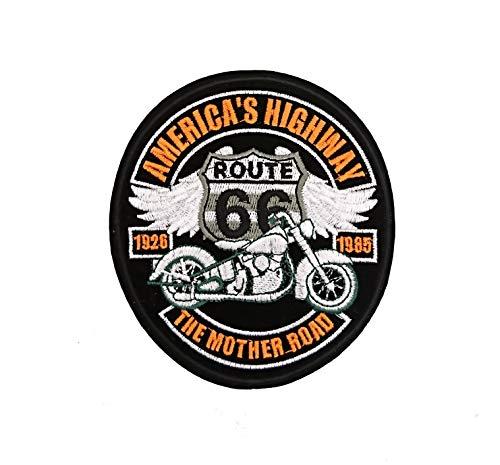 Lilie Crea - Parche termoadhesivo para Planchar de la Ruta 66, american's Highway, Biker, Moto, 11,3 cm