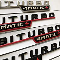 新版メルセデスベンツBITURBO4MATIC +レッドプラスカースタイリングフェンダーバッジDoulbeターボステッカークロームブラックレッドのフラットレターエンブレム