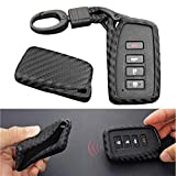 YZtree Car Key Case Carbon Fiber Remote Key Fob Cover, 360 Degree Protection Car Smart Key Chain, Silicone Key Fob Case for Lexus ES NX RX GS LX RC