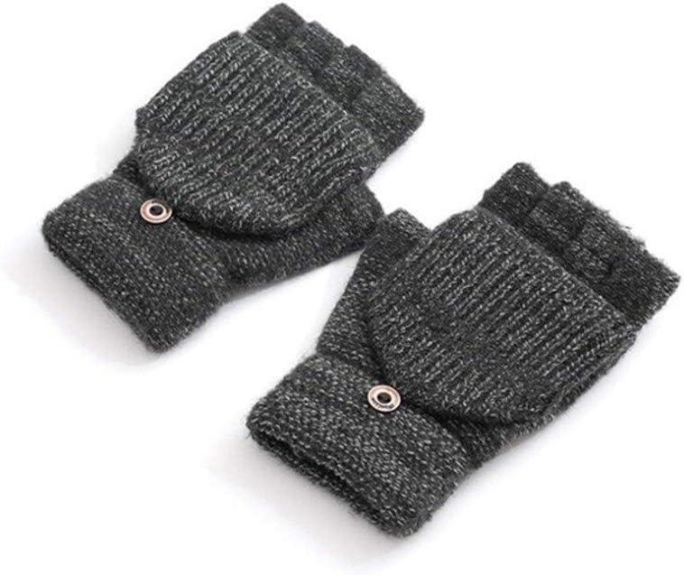 ZZTT Autumn and Winter Gloves Flip Knitted Warm Striped Mittens Button Half Finger Exposed Glove Plus Thick Male Mitten 2018 Winter Men Gloves Warm and Comfortable Gloves (Color : Dark Grey)