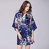CWENROU Pijama De Satén para Mujer,Moda Retro Señoras Primavera Y Verano Rayon Bata Satinado Vestido Novia Bata Nupcial Más Tamaño Sexy Floral Bata Corta Pijama Kimono Azul Marino Simple, L