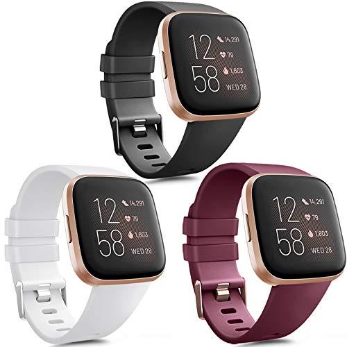 Vancle 3 Pack Kompatibel für Fitbit Versa Armband/Fitbit Versa 2 Armband, Klassisch Weiches TPU Sports Verstellbares Ersatz Armbänder für Fitbit Versa/Versa 2 / Versa Lite (Schwarz/Weiß/Wine Rot, L)