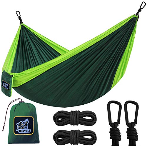 MIZTLI Hammock Camping with All The Installations, Portable & Lightweight Travel Parachute Hammock, Outdoor, Indoor, Backpacking, Hiking & Survival