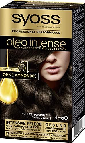 SYOSS Oleo Intense Permanente Öl-Coloration, Haarfarbe 4-50 Kühles Naturbraun, mit pflegendem Öl & ohne Ammoniak, 3er Pack (3 x 115 ml)
