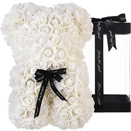 Oso de peluche rosa oso rosas oso rosa oso de rosas flores rosa osito de peluche, regalos para mamá sus mujeres niñas adolescentes madres san valentín aniversario - osos rosas con caja (blanco)