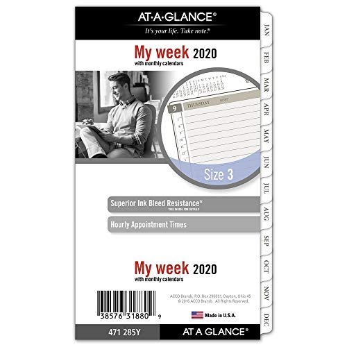 AT-A-GLANCE 2020 Weekly & Monthly Planner Refill, Day Runner, 3-3/4' x 6-3/4', Portable Size 3, Loose Leaf (471-285Y)