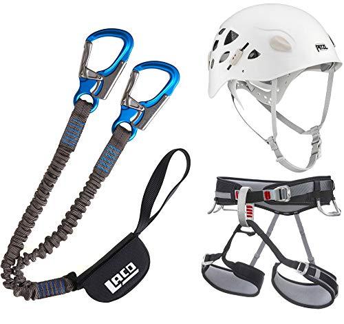 LACD Damen Klettersteigset Pro Evo + Gurt Start + Petzl Helm Elia White 52-58cm (Gurt Größe S)
