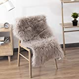 Decorative Contemporary Elegant Luxury Fleecy Large Area Rug One Pelt Plush Faux Fur Sheepskin Rug Fluffy Carpet Floor Mat, 5 ft x 6 ft, Ivory White