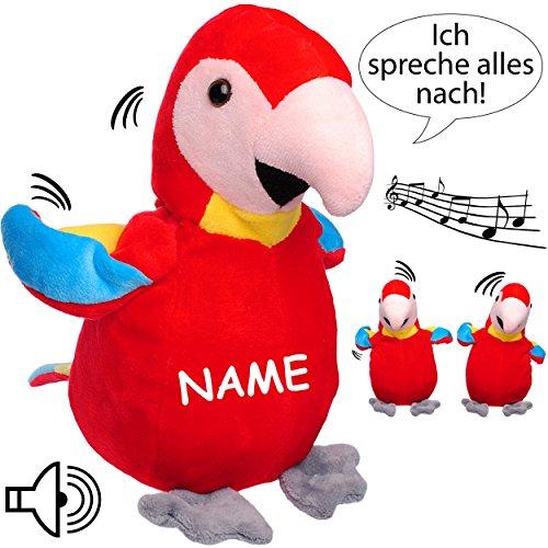 NACH sprechender - Papagei / Vogel / Ara -  Ich spreche Alles nach & bewege Mich dazu  - inkl. Name - aus Stoff / Plüsch - Plüschtier - mit Sound & Bewegung..