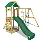 WICKEY Wooden Climbing Frame FreeFlyer with Swing Set and Green Slide, Outdoor Play Tower for Kids with Sandpit, Climbing Ladder & Play-Accessories