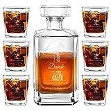 Murrano Decanter per Whisky in Vetro - Incisione Personalizzata - Caraffa in Vetro da 700 ml + 6 Set Bicchieri Whisky - Idea Regalo per l'Uomo - Taglialegna